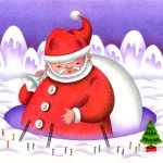 "Illustrations of ""White Christmas, Snow scene, Santa Claus, Fantasy"""