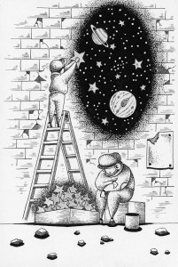 Pen drawing,Ink drawing,Pen sketch,Ink sketch,Pen and Ink,Monochrome,Sepia,Star,Celestial body,Planet,Space,Outer space,Brick wall,Street vendors,Stepladder,Parent and child,Merchant,Stardust