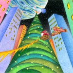 "Illustrations of ""Christmas tree, Fantasy night, Skyscraper, City"""