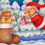 "Illustrations of ""Christmas, Santa Claus, Teddy bear, Hedgehog, Fairy tale"""