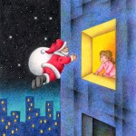 "Illustrations of ""Silent Night, Christmas Eve, Santa Claus, Girl"""