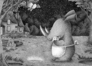Animal,Creature,Mammalian,Cute animal,Fantasy,Fairy tale,Rhino,Rhinoceros,Parent and child,Mother and child,Countryside,House,Plaza,Garden,Blue sky,Woods,Forest,Tree,Night,Late night,Starry sky,Night view,Tears,Loneliness,Star night