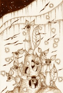 Pen drawing,Ink drawing,Pen sketch,Ink sketch,Pen and Ink,Monochrome,Sepia,Prairie dog,Starry sky,Different world,Animal,Flock,Nest,Residence,Mammalian,Fantasy,Science fiction,Science fantasy