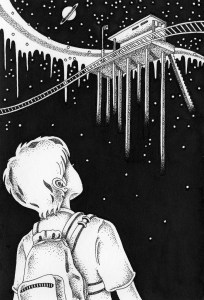 Pen drawing,Ink drawing,Pen sketch,Ink sketch,Pen and Ink,Monochrome,Sepia,Trip,Travel,Traveller,Boy,Rucksack,Knapsack,Station,Line,Railway,Aerial Station,Night,Stars of the sky,Starry sky,Night sky,Unmanned station,Late night,Fantasy,Fairy tale
