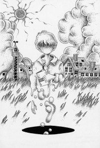 Pen drawing,Ink drawing,Pen sketch,Ink sketch,Pen and Ink,Monochrome,Sepia,Different dimension,Space movement,Sun,Teleportation,Boy,Hole,Time tunnel,Wormhole,Solar,Ranch,Silo,Cloud cover,Grass,House,Summer,Farm,FantasyScience fiction,SF
