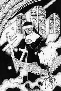 Pen drawing,Ink drawing,Pen sketch,Ink sketch,Pen and Ink,Monochrome,Sepia,Mother,Sister,Church,Stained glass,Cross,Robot,Cat,Cathedral,Clergyman,Sacred,Prayer,Wish,Window,Fantasy,Fairy tale