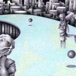 """Illustrations of """"Highway, Future city, Alien world, First contact"""""""