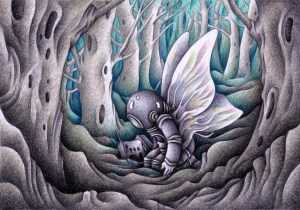 SF,Science fiction,Science fantasy,Imagination,Fantasy,Fantasy science,Pencil drawing,Colored pencil drawing,Analog illustration,Illustration,Art,Painting,Hand drawn illustrations,Woodland,Wood,Forest,Spacesuit,Astronaut,Transform,Transformation,Evolution,Wing,Emergence,Butterfly