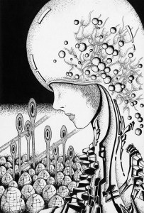 Pen drawing,Ink drawing,Pen sketch,Ink sketch,Pen and Ink,Monochrome,Sepia,Robot,Cyborg,Android,Humanoid,Artificial intelligence,Science fiction,Future,Future city,Future world,Future society,Settlement,Cyber punk,Mutant,Cyber city,Brain city