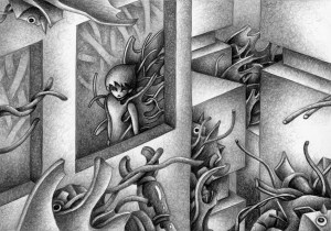 SF,Science fiction,Science fantasy,Imagination,Fantasy,Fantasy science,Pencil drawing,Colored pencil drawing,Analog illustration,Illustration,Art,Painting,Hand drawn illustrations,Erosion,Invasion,Corrosion,Metal,Invader,City,Proliferation,Metallization,Alien