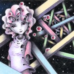 "Illustrations of ""Beautiful girl, Space Alien, Android, Starry sky, Space"""