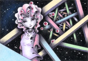 SF,Science fiction,Science fantasy,Imagination,Fantasy,Fantasy science,Pencil drawing,Colored pencil drawing,Analog illustration,Illustration,Art,Painting,Hand drawn illustrations,Female,Girl,Beautiful woman,Beautiful girl,Alien,Space Alien,Robot,Cyborg,Android,Starry sky,Space,Outer space,Different dimension,Different space