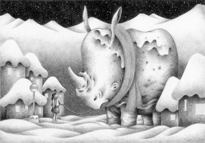 SF,Science fiction,Science fantasy,Imagination,Fantasy,Fantasy science,Pencil drawing,Colored pencil drawing,Analog illustration,Illustration,Art,Painting,Hand drawn illustrations,Rhinoceros,Rhino,snow,Snow country,Snow cover,Winter,Snowy mountains,Bus stop,Girl,Pet,Cold,Starry sky,Night sky,Animal,House,Private house,Countryside,Snowy landscape