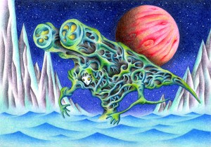 SF,Science fiction,Science fantasy,Imagination,Fantasy,Fantasy science,Pencil drawing,Colored pencil drawing,Analog illustration,Illustration,Art,Painting,Hand drawn illustrations,Warrior,Soldier,Monster,Cyborg,Robot,Battle machine,Combat Suit,Battle suit,Combat,Planet,Mountain range,Canyon,Lake,Ocean,Remote area,Space,Sea,Different world