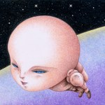 """Illustrations of """"New mankind, Flying, Evolution, Departure, Space"""""""