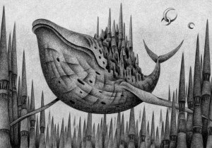 SF,Science fiction,Science fantasy,Imagination,Fantasy,Fantasy science,Pencil drawing,Colored pencil drawing,Analog illustration,Illustration,Art,Painting,Hand drawn illustrations,Whale,Aerial city,Castle,Old castle,Moonlit night,Crescent Moon,Tower,Spire,City,Ancient city,Huge building