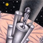"""Illustrations of """"High speed elevator, Space, Future world, Space city"""""""