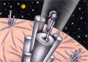 SF,Science fiction,Science fantasy,Imagination,Fantasy,Fantasy science,Pencil drawing,Colored pencil drawing,Analog illustration,Illustration,Art,Painting,Hand drawn illustrations,Elevator,High speed elevator,Space,Planet,Satellite,Space city,Starry sky,Alien,Migrants,Outer space,Future world,Future city