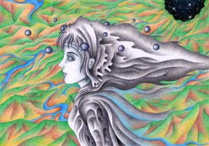 SF,Science fiction,Science fantasy,Imagination,Fantasy,Fantasy science,Pencil drawing,Colored pencil drawing,Analog illustration,Illustration,Art,Painting,Hand drawn illustrations,Mountain range,River,Earth,Alien,Cylinder World,Space,Futurist