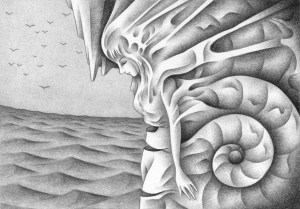 SF,Science fiction,Science fantasy,Imagination,Fantasy,Fantasy science,Pencil drawing,Colored pencil drawing,Analog illustration,Illustration,Art,Painting,Hand drawn illustrations,Fossil,Ammonite,Ancient times,Ocean,Fairy,Conch,Female,Beautiful woman,Rock,Memory,Blue sky,Sea surface,Sea
