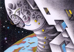 SF,Science fiction,Science fantasy,Imagination,Fantasy,Fantasy science,Pencil drawing,Colored pencil drawing,Analog illustration,Illustration,Art,Painting,Hand drawn illustrations,Parasitism,Parasite,Alien,Space,Outer space,Cosmic creature,Earth,Invader,Monster