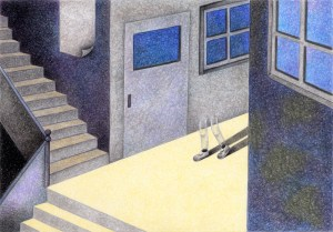 SF,Science fiction,Science fantasy,Imagination,Fantasy,Fantasy science,Pencil drawing,Colored pencil drawing,Analog illustration,Illustration,Art,Painting,Hand drawn illustrations,Classroom,Ghost,Teleportation,Emergence,Stairs,School building,Leg,Transparent,Window,Different dimension,Different world