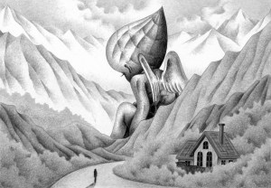 SF,Science fiction,Science fantasy,Imagination,Fantasy,Fantasy science,Pencil drawing,Colored pencil drawing,Analog illustration,Illustration,Art,Painting,Hand drawn illustrations,Angel,Giant,Mountain,Mountainous area,Mountain range,Woods,Forest,House,Sky,Cloud,Road,Mountain path,Huge