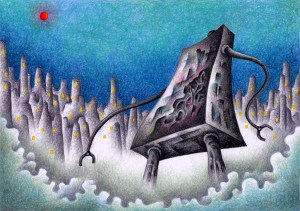 SF,Science fiction,Science fantasy,Imagination,Fantasy,Fantasy science,Pencil drawing,Colored pencil drawing,Analog illustration,Illustration,Art,Painting,Hand drawn illustrations,Robot,Giant,Steel,Machine,Future city,Future world,Resurrection,Start up,Reboot,City,Future society