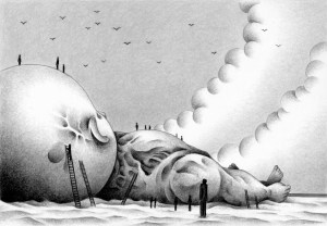 SF,Science fiction,Science fantasy,Imagination,Fantasy,Fantasy science,Pencil drawing,Colored pencil drawing,Analog illustration,Illustration,Art,Painting,Hand drawn illustrations,Giant,Drift,Drowning person,Cloud,Blue sky,Beach,Sandy land,Coast,Leviathan,Huge,Variant