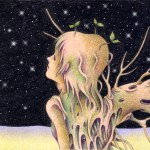 "Illustrations of ""New mankind, Mutant, Planting, Desert, Star night"""