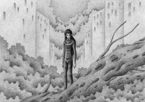 SF,Science fiction,Science fantasy,Imagination,Fantasy,Fantasy science,Pencil drawing,Colored pencil drawing,Analog illustration,Illustration,Art,Painting,Hand drawn illustrations,Ruins,City,Jungle,Human,Wood,Plant,Planting,Survivor,Female,Building