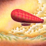 "Illustrations of ""Airship, Departure, Mountain range, Zeppelin"""