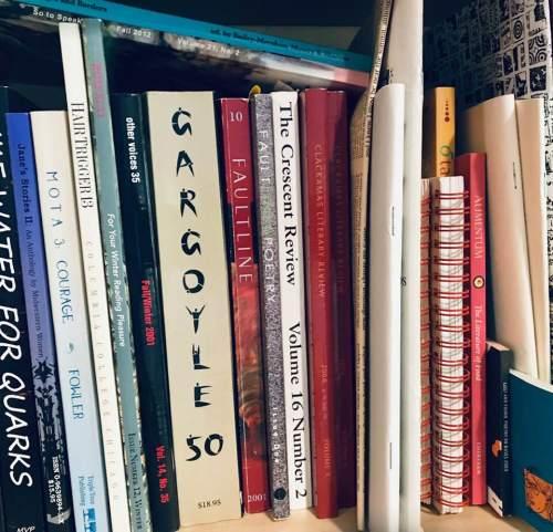 Shelf full of literary journals