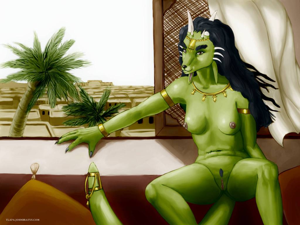 Digital painting of a nude lynx morph Kaliendra relaxing and overlooking her desert kingdom of Abun