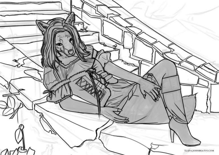 Digital sketch of an anthropomorphic vixen posing on outdoor stone steps