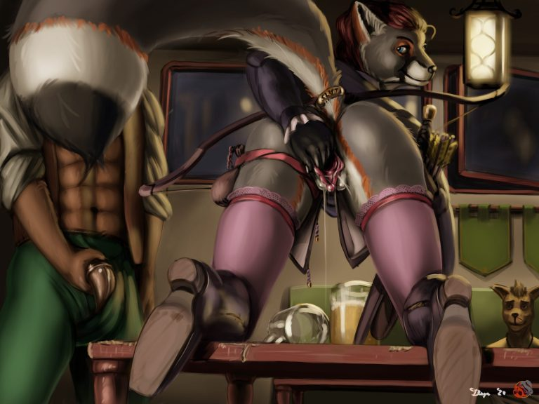 Digital painting of an anthropomorphic vixen presenting her hindquarters atop a bar table
