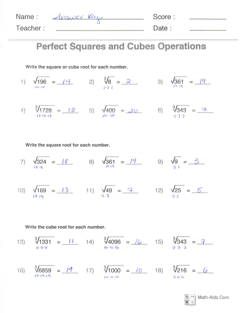 small resolution of Cube Root Problems Worksheets   Printable Worksheets and Activities for  Teachers