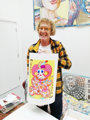 Grayson Perry with Joker Artwork for TLC Deck of Cards Art Auction