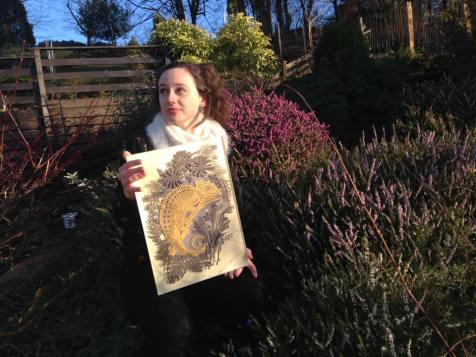 Hazel Partridge with artwork