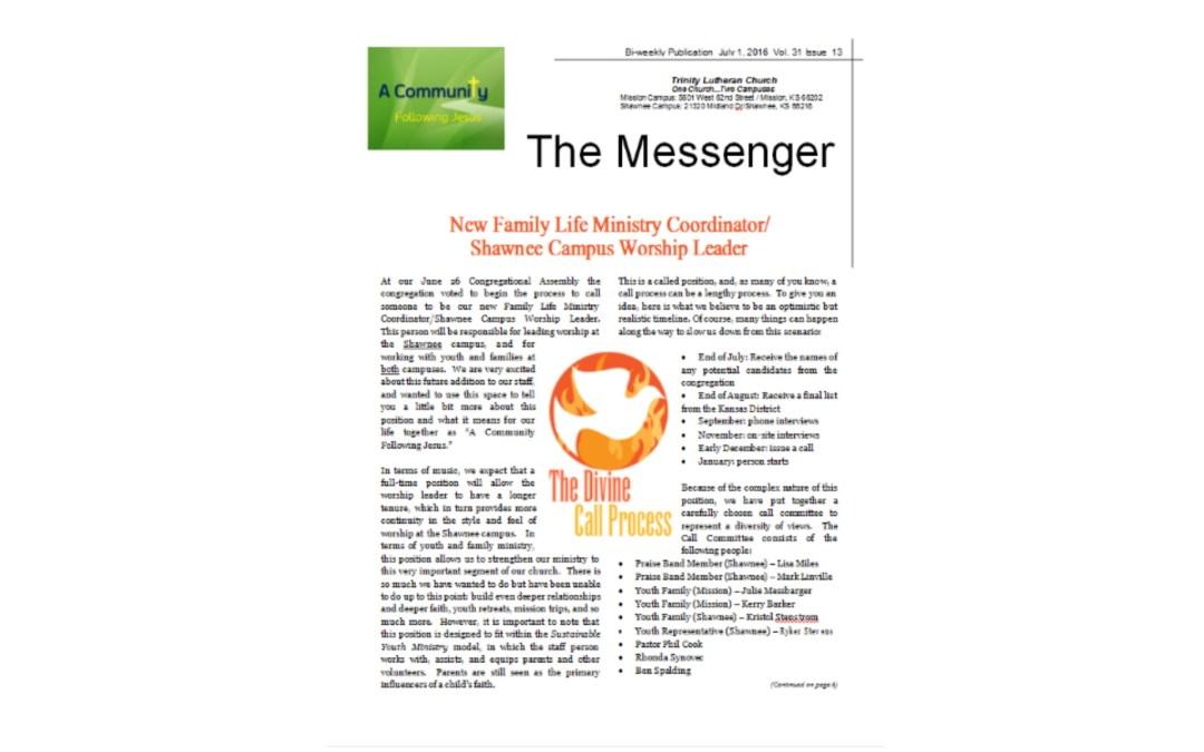 July 1, 2016 Messenger
