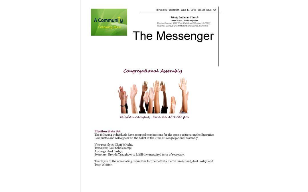 June 17, 2016 Messenger