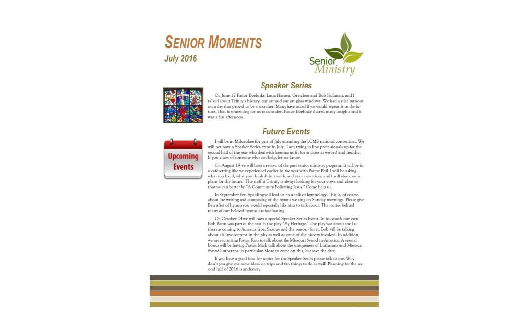 July 2016 Senior Moments Newsletter