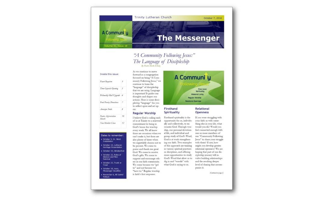 October 7, 2016, Trinity Messenger