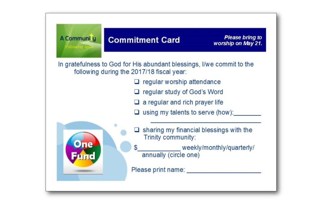 May 21 Is Pledge Sunday