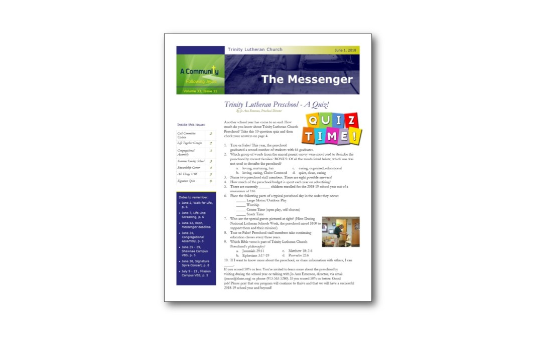 June 1 Trinity Messenger