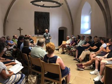 A 4:00 special devotional service in the Sacristy of the Town Church. A group of 45 from Collette Tours in the USA including NC, MI, OH, and MN.
