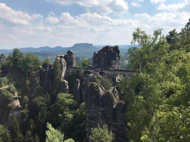 The Bastei—a very famous rock formation including a picturesque pedestrian bridge.