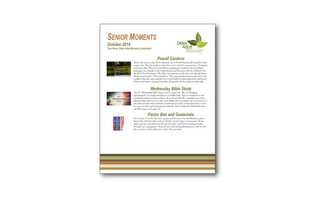 October Senior Moments Newsletter