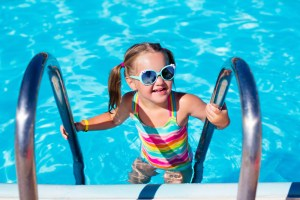 Girl with Sunglasses in Pool