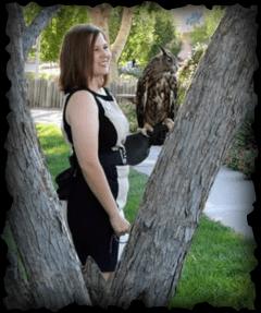 Chelsea holding owl Jasper
